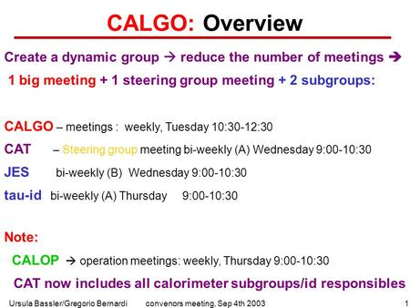 Ursula Bassler/Gregorio Bernardi1convenors meeting, Sep 4th 2003 CALGO: Overview Create a dynamic group  reduce the number of meetings  1 big meeting.