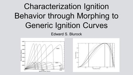 Characterization Ignition Behavior through Morphing to Generic Ignition Curves Edward S. Blurock.