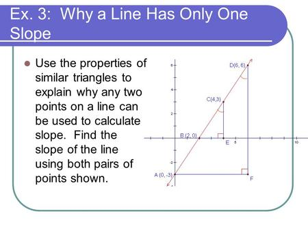 Ex. 3: Why a Line Has Only One Slope