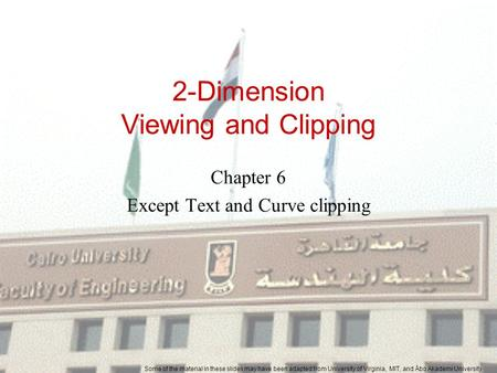2-Dimension Viewing and Clipping