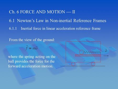 Ch. 6 FORCE AND MOTION  II 6.1 Newton's Law in Non-inertial Reference Frames 6.1.1Inertial force in linear acceleration reference frame From the view.