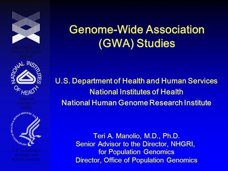 Genome-Wide Association (GWA) Studies National Human Genome Research Institute National Institutes of Health U.S. Department of Health and Human Services.