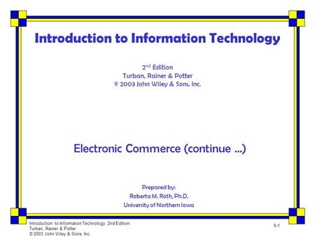 Electronic Commerce (continue …)