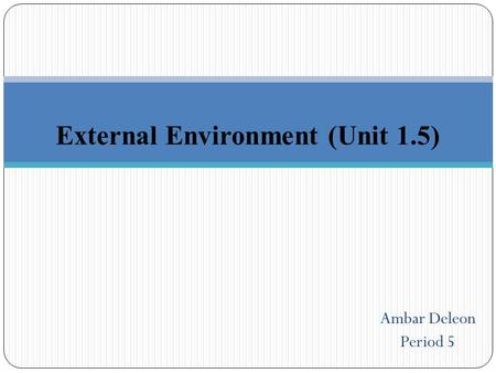 External Environment (Unit 1.5) Ambar Deleon Period 5.