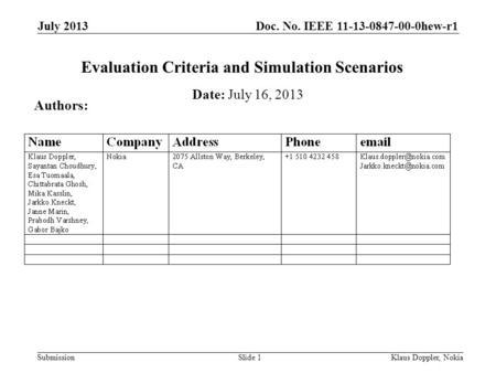 Doc. No. IEEE 11-13-0847-00-0hew-r1 Submission July 2013 Klaus Doppler, NokiaSlide 1 Evaluation Criteria and Simulation Scenarios Date: July 16, 2013 Authors: