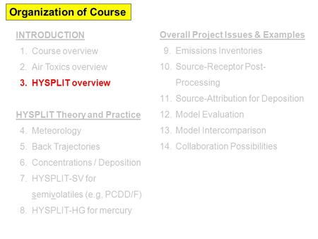 Organization of Course INTRODUCTION 1.Course overview 2.Air Toxics overview 3.HYSPLIT overview HYSPLIT Theory and Practice 4.Meteorology 5.Back Trajectories.