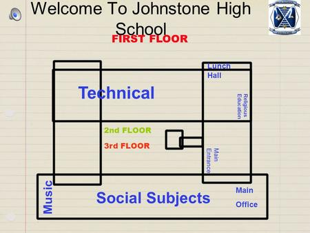 Welcome To Johnstone High School Technical Lunch Hall Social Subjects Main Office Music Religious Education FIRST FLOOR Main Entrance 2nd FLOOR 3rd FLOOR.