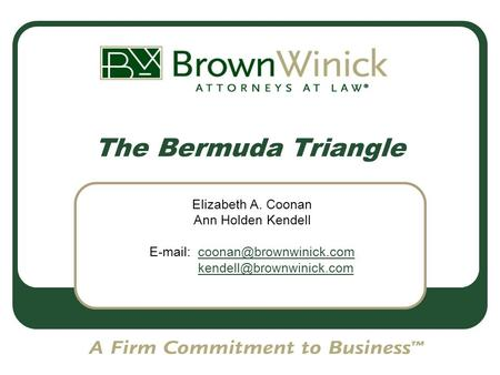 1 The Bermuda Triangle Elizabeth A. Coonan Ann Holden Kendell