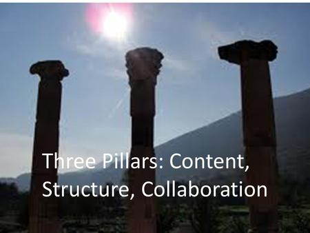 Three Pillars: Content, Structure, Collaboration.