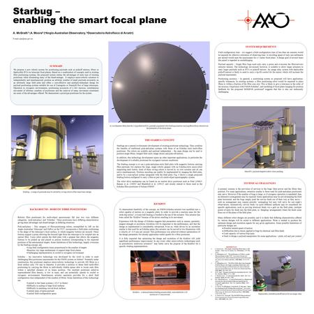 A. McGrath *a,A. Moore b ( a Anglo-Australian Observatory, b Osservatorio Astrofisico di Arcetri) Starbug – enabling the smart focal plane TECHNICAL CHALLENGES.