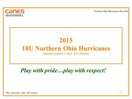 Northern Ohio Hurricanes Baseball Play with pride…play with respect! 1 2015 18U Northern Ohio Hurricanes Saturday January 3, 2015 – First Practice Play.