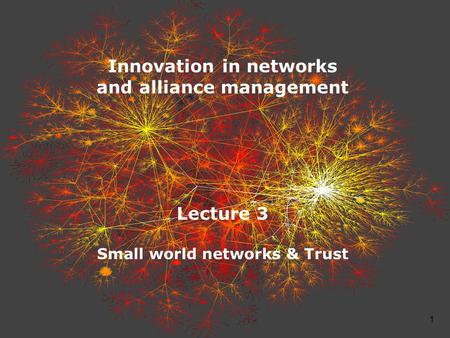 1 Innovation in networks and alliance management Lecture 3 Small world networks & Trust.