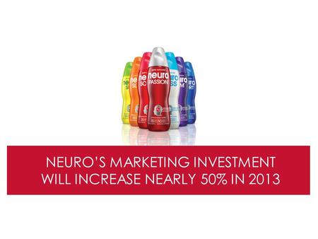 NEURO'S MARKETING INVESTMENT WILL INCREASE NEARLY 50% IN 2013.