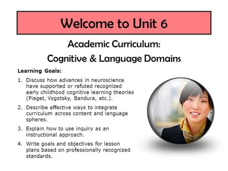 Welcome to Unit 6 Academic Curriculum: Cognitive & Language Domains Learning Goals: 1.Discuss how advances in neuroscience have supported or refuted recognized.