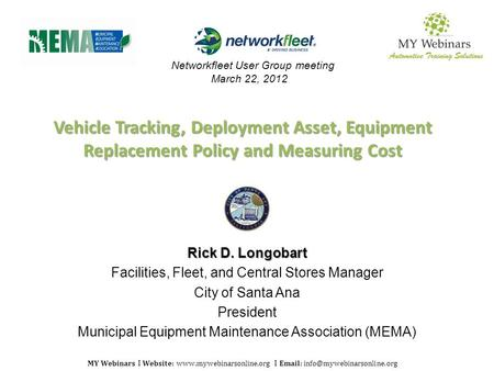 MY Webinars I Website:  I   Vehicle Tracking, Deployment Asset, Equipment Replacement Policy and.