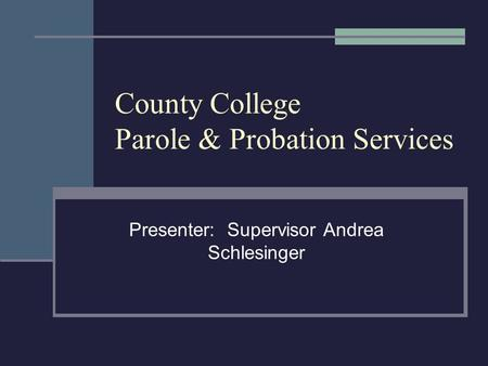 County College Parole & Probation Services