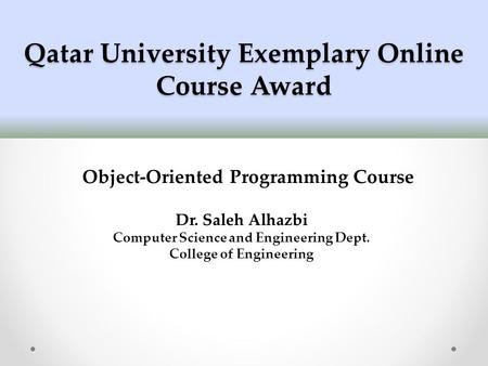 Qatar University Exemplary Online Course Award