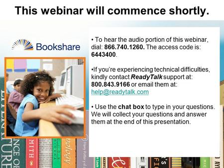 This webinar will commence shortly. To hear the audio portion of this webinar, dial: 866.740.1260. The access code is: 6443400. If you're experiencing.