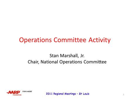 TAX-AIDE Administrative Organization Chart 2014 DC MEETING ...