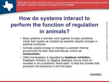 How do systems interact to perform the function of regulation in animals? Body systems in animals work together to keep conditions inside their bodies.
