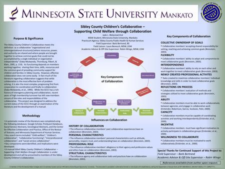 Sibley County Children's Collaborative – Supporting Child Welfare through Collaboration Jade L. Blekestad-Kral MSW Student, Minnesota State University,