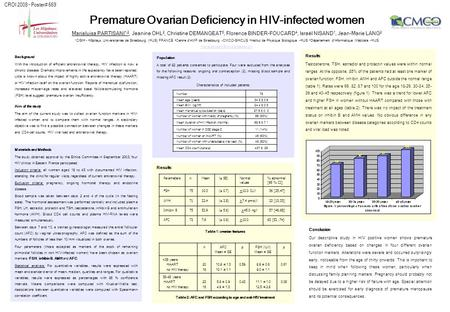 Results Premature Ovarian Deficiency in HIV-infected women Marialuisa PARTISANI 1,2, Jeanine OHL 2, Christine DEMANGEAT 3, Florence BINDER-FOUCARD 4, Israël.