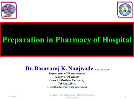 Preparation in Pharmacy of Hospital