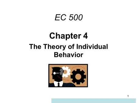 Chapter 4 The Theory of Individual Behavior