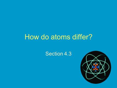 How do atoms differ? Section 4.3. REVIEW: THE ATOM The nucleus.