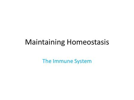 Maintaining Homeostasis The Immune System. Maryland Science Content Standard Students will explain and describe that the complex set of systems found.