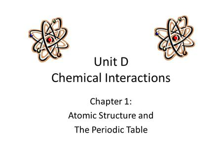 Unit D Chemical Interactions Chapter 1: Atomic Structure and The Periodic Table.