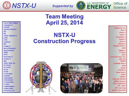 Team Meeting April 25, 2014 NSTX-U Construction Progress NSTX-U Supported by Culham Sci Ctr York U Chubu U Fukui U Hiroshima U Hyogo U Kyoto U Kyushu U.