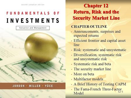 Chapter 12 Return, Risk and the Security Market Line
