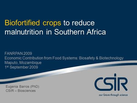 Biofortified crops to reduce malnutrition in Southern Africa