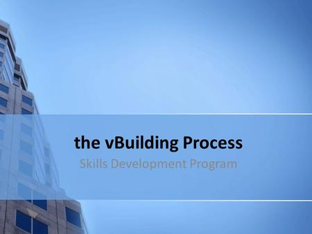 The vBuilding Process Skills Development Program.