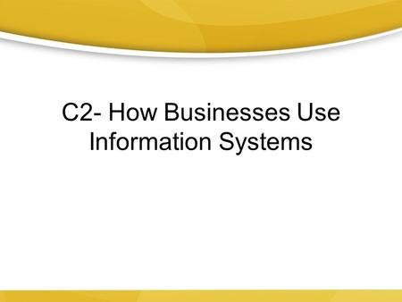 C2- How Businesses Use Information Systems. BMW Oracle's USA in the 2010 America's Cup.