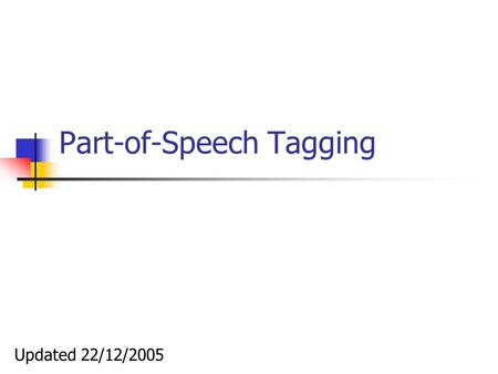 Part-of-Speech Tagging Updated 22/12/2005. Part-of-Speech Tagging Tagging is the task of labeling (or tagging) each word in a sentence with its appropriate.
