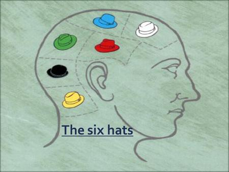 The six hats. Plan  Introduction of the book  N.B about thinking  The white hat  The yellow hat  The red hat  The black hat  The green hat  The.