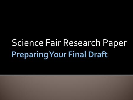 Science fair research paper title page