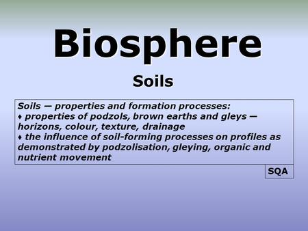 Biosphere Soils Soils — properties and formation processes: ♦ properties of podzols, brown earths and gleys — horizons, colour, texture, drainage ♦ the.