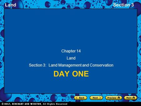 LandSection 3 DAY ONE Chapter 14 Land Section 3: Land Management and Conservation.