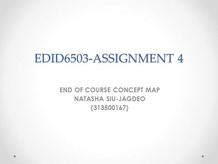 EDID6503-ASSIGNMENT 4 END OF COURSE CONCEPT MAP NATASHA SIU-JAGDEO (313500167)