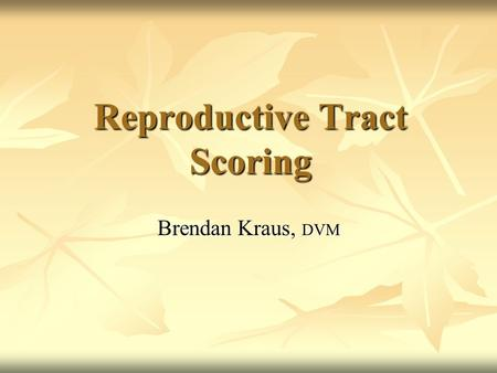 Reproductive Tract Scoring Brendan Kraus, DVM. Heifer Selection Most Cattleman Select Visually Most Cattleman Select Visually Use Size and Appearance.