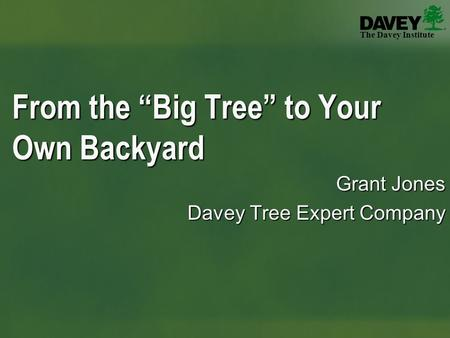 "The Davey Institute Grant Jones Davey Tree Expert Company From the ""Big Tree"" to Your Own Backyard."