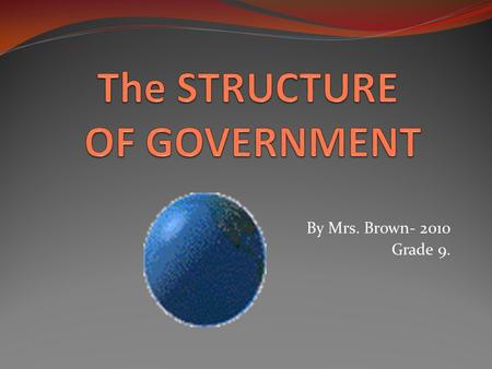By Mrs. Brown- 2010 Grade 9. To prevent the abuse of power by the government in carrying out its functions, the power has been divided among the THREE.