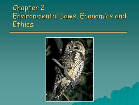 Chapter 2 Environmental Laws, Economics and Ethics.