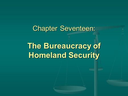 Chapter Seventeen: The Bureaucracy of Homeland Security