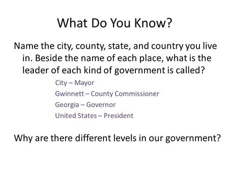 What Do You Know? Name the city, county, state, and country you live in. Beside the name of each place, what is the leader of each kind of government is.