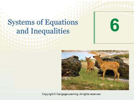 1 Copyright © Cengage Learning. All rights reserved. 6 Systems of Equations and Inequalities.