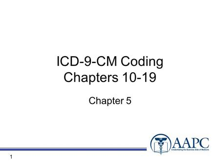 ICD-9-CM Coding Chapters 10-19 Chapter 5 1. Objectives Chapter 10: Diseases of Genitourinary System Chapter 11: Complications of Pregnancy, Childbirth,